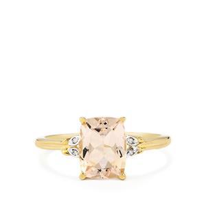 Mutala Morganite & Diamond 10K Gold Ring ATGW 1.91cts