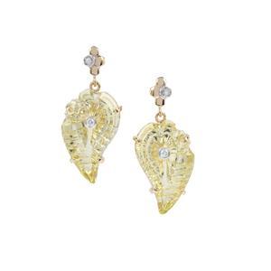 Lehrer Flame Cut Lemon Quartz Earrings with Diamond in 9K Gold 15.97cts