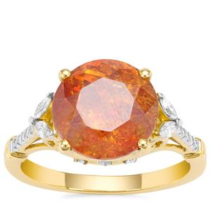 Sphalerite Ring with Diamond in 18K Gold 5.76cts