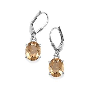 Bolivian Natural Champagne Quartz Earrings in Sterling Silver 4.32cts