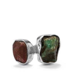 Burmese Ruby & Zambian Emerald Sterling Silver Ring ATGW 7.71cts