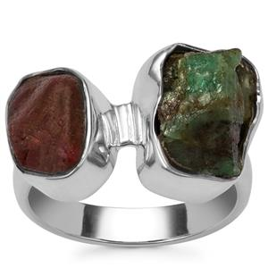 Burmese Ruby Ring with Zambian Emerald in Sterling Silver 7.71cts