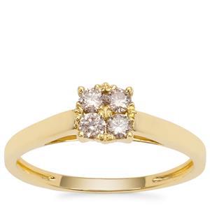 Champagne Argyle Diamond Ring in 9K Gold 0.26ct