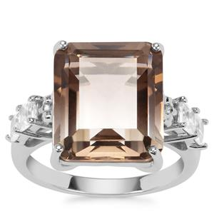 Bi-Colour Smokey Quartz Ring with White Zircon in Sterling Silver 10.79cts