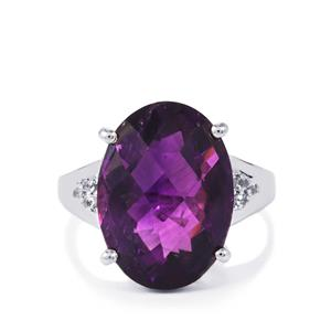 Zambian Amethyst Ring with White Topaz in Sterling Silver 10.23cts