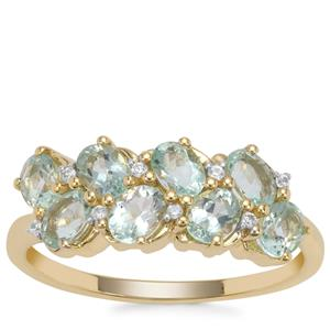 Aquaiba Beryl Ring with White Zircon in 9K Gold 1.27cts