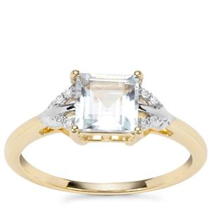 Pedra Azul Aquamarine Ring with Diamond in 9K Gold 1.02cts