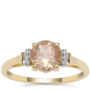 Padparadscha Oregon Sunstone Ring with White Zircon in 9K Gold 1.27cts