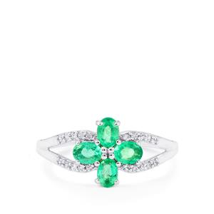 Zambian Emerald & White Zircon 9K White Gold Ring ATGW 0.71cts