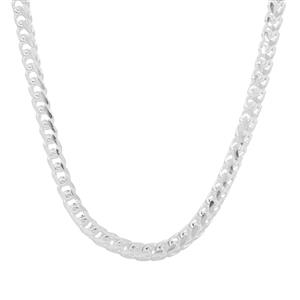 """18"""" Sterling Silver Altro Diamond Cut Oval Franco Chain 15.28g"""