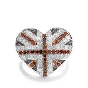 1.45ct Blue, Red & White Diamond 9K Gold Tomas Rae Ring