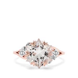 Wobito Snowflake Cut Itinga Petalite & Diamond 9K Rose Gold Ring ATGW 3.74cts