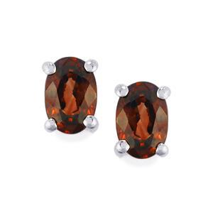 Cinnamon Zircon Earrings in Sterling Silver 1.51cts