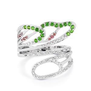 Chrome Diopside, Rhodolite Garnet & White Topaz Sterling Silver Ring ATGW 0.50cts