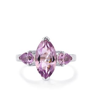 Rose De France Amethyst Ring in Sterling Silver 3.50cts