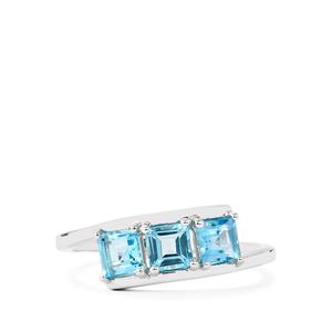 1.16ct Electric Blue Topaz Sterling Silver Ring