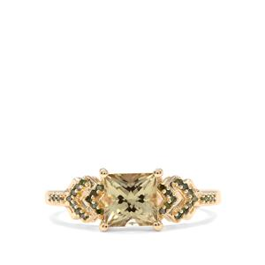 Csarite® & Green Diamond 9K Gold Ring ATGW 1.31cts