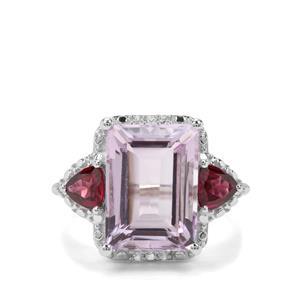 Rose De France Amethyst, Rajasthan Garnet & White Topaz Sterling Silver Ring ATGW 8.50cts