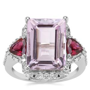 Rose De France Amethyst, Rajasthan Garnet Ring with White Topaz in Sterling Silver 8.50cts