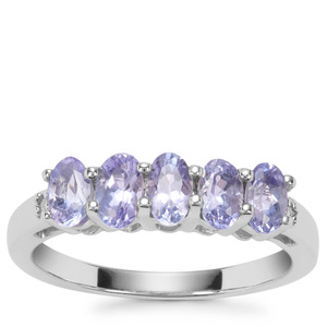 Tanzanite Ring with Diamond in Sterling Silver 1.21cts