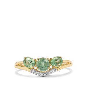 Odisha Kyanite & White Zircon 9K Gold Ring ATGW 1.33cts