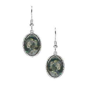 Baltic Green Amber Earrings in Sterling Silver (15 x 10mm)