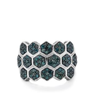 Blue Diamond Ring in Sterling Silver 1.05cts