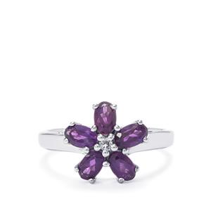 Zambian Amethyst Ring with White Topaz in Sterling Silver 1.04cts
