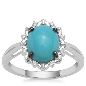 Sleeping Beauty Turquoise Ring with White Zircon in Sterling Silver 2.15cts