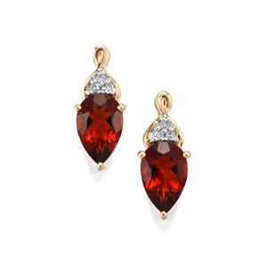 Madeira Citrine Earrings with Diamond in 10k Gold 1.41cts