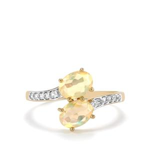 Ethiopian Opal Ring with White Zircon in 10k Gold 1.14cts