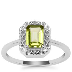 Changbai Peridot Ring with White Topaz in Sterling Silver 0.96ct