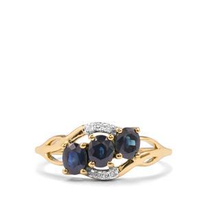 Australian Blue Sapphire & Diamond 10K Gold Ring ATGW 1.28cts