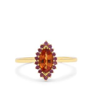 Mandarin Garnet Ring with Rajasthan Garnet in 9K Gold 0.95ct