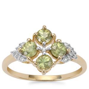 Ambanja Demantoid Garnet Ring with White Zircon in 9K Gold 1.05cts