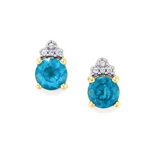 Neon Apatite Earrings with White Zircon in 9K Gold 1.42cts