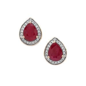 Burmese Ruby Earrings with White Zircon in 9K Gold 3.15cts