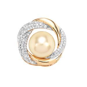 Golden South Sea Cultured Pearl & Diamond 18K Gold Pendant Pendant (10.80mm)