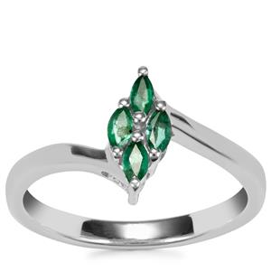 Luhlaza Emerald Ring in Sterling Silver 0.24ct