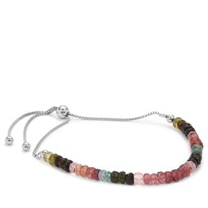 Multi-Colour Tourmaline Graduated Inspired By Colour Slider Bracelet in Sterling Silver 13.50cts