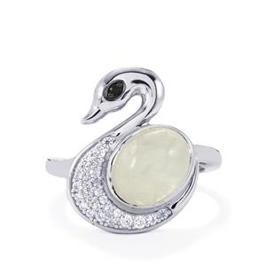 Rainbow Moonstone, Black Spinel & White Zircon Sterling Silver Odette Ring ATGW 3.46cts