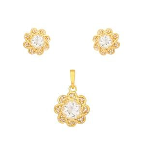 White Quartz Set with White Topaz in Gold Plated Sterling Silver 3.64cts