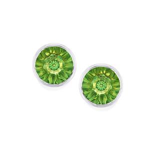 2.91ct Lehrer QuasarCut Fern Green Quartz 10K White Gold Earrings