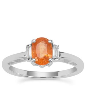 Mandarin Garnet Ring with White Zircon in Sterling Silver 1.28cts
