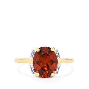 Zanzibar Sunburst Zircon Ring with Diamond in 10k Gold 3.61cts