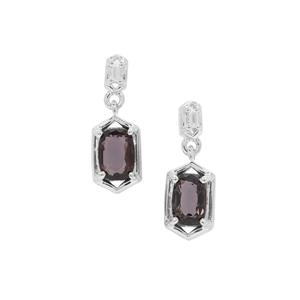 Burmese Spinel Earrings with White Zircon in Sterling Silver 1.43cts