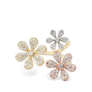 3/4ct Diamond 9K Three Tone Gold Tomas Rae Ring