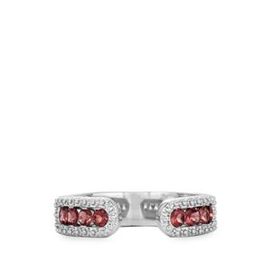 Rhodolite Garnet Ring  in Rhodium Flash Sterling Silver 0.62ct