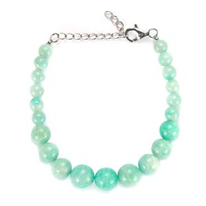 81.90ct Russian Amazonite Sterling Silver Graduated Bracelet