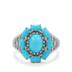 Sleeping Beauty Turquoise Ring in Platinum Plated Sterling Silver 3.34cts